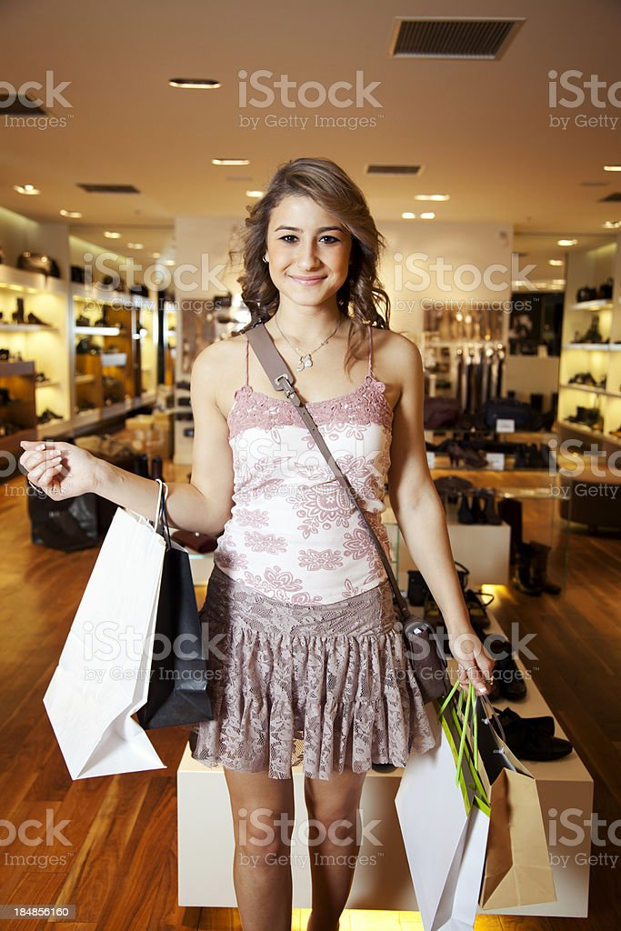 Girl with shopping royalty-free stock photo