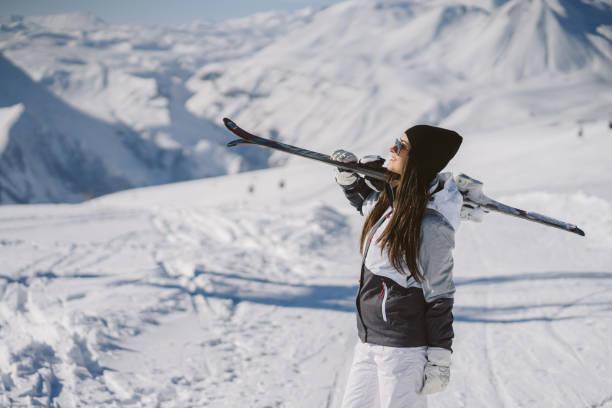 girl with ski stock photo