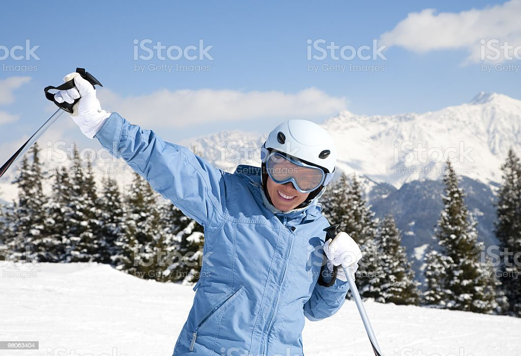 Girl with ski royalty-free stock photo