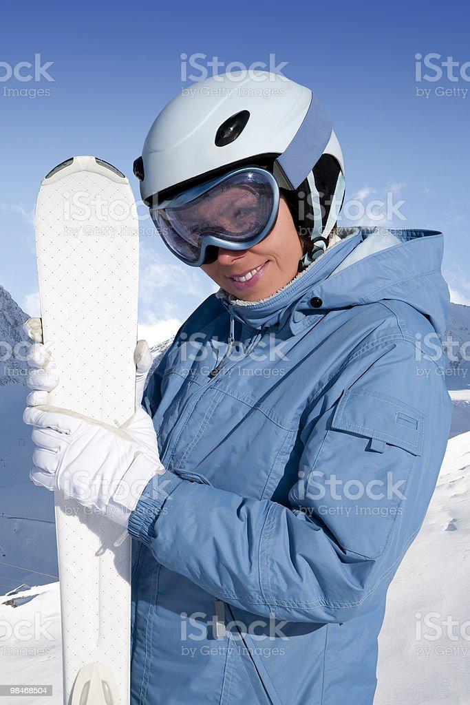 Girl with ski royalty-free stock photo