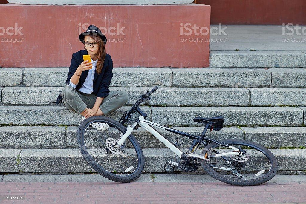 girl with smartphone stock photo