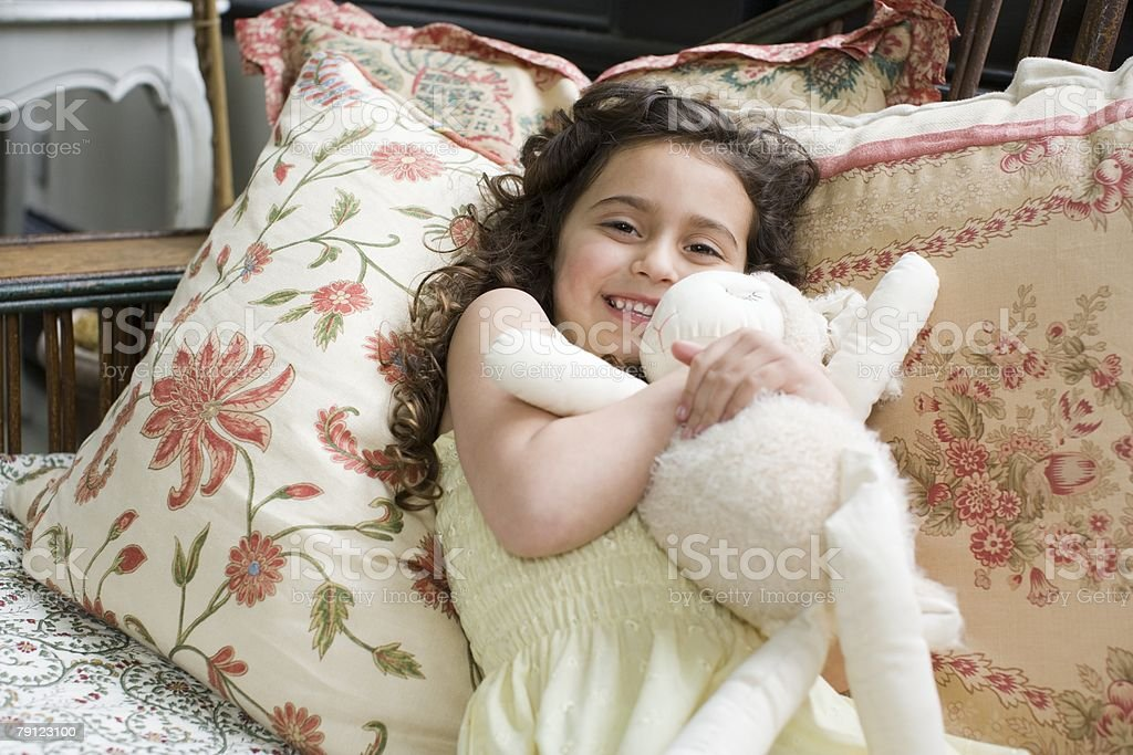 Girl with soft toy 免版稅 stock photo