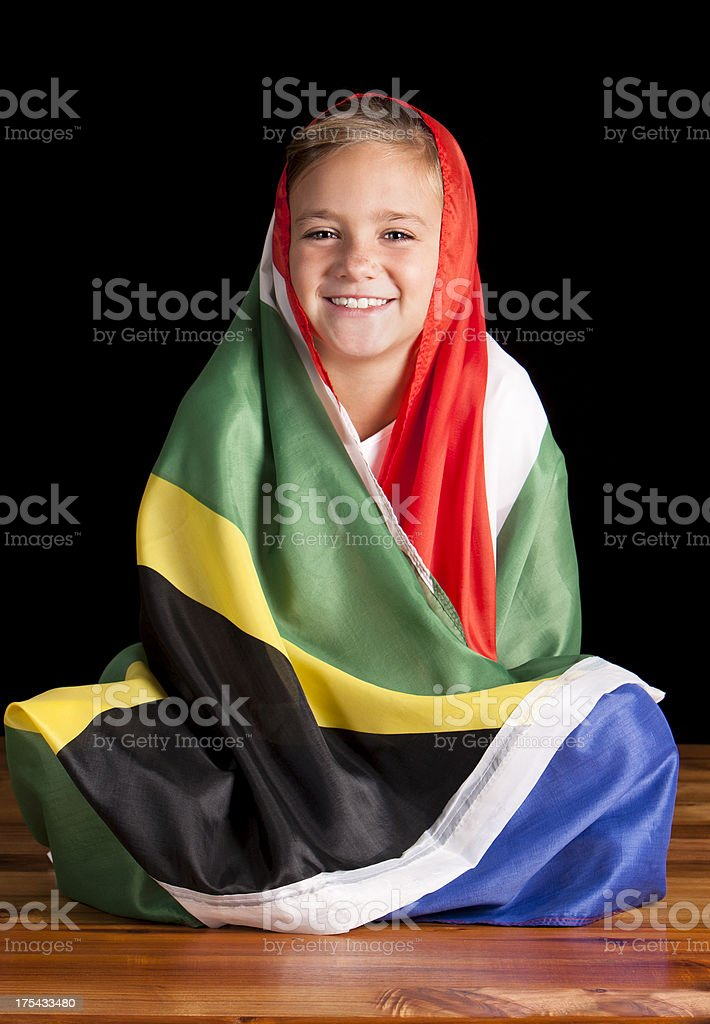 Girl with South African Flag stock photo