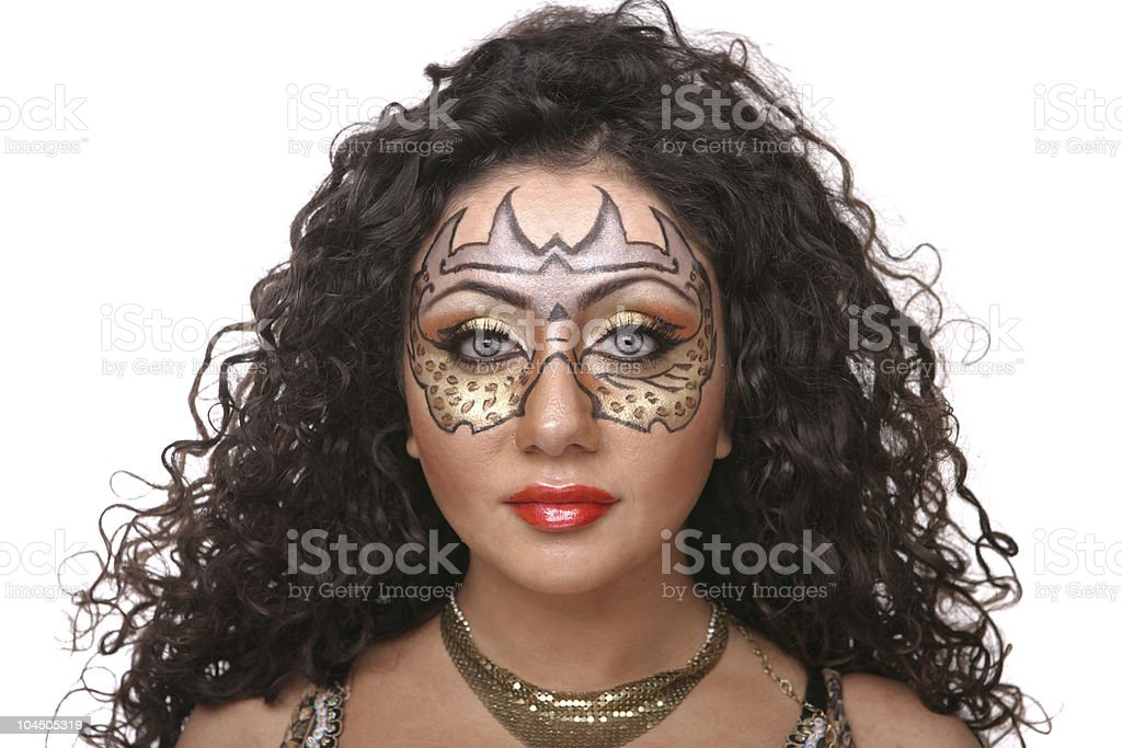 Girl with stage makeup as tigress royalty-free stock photo