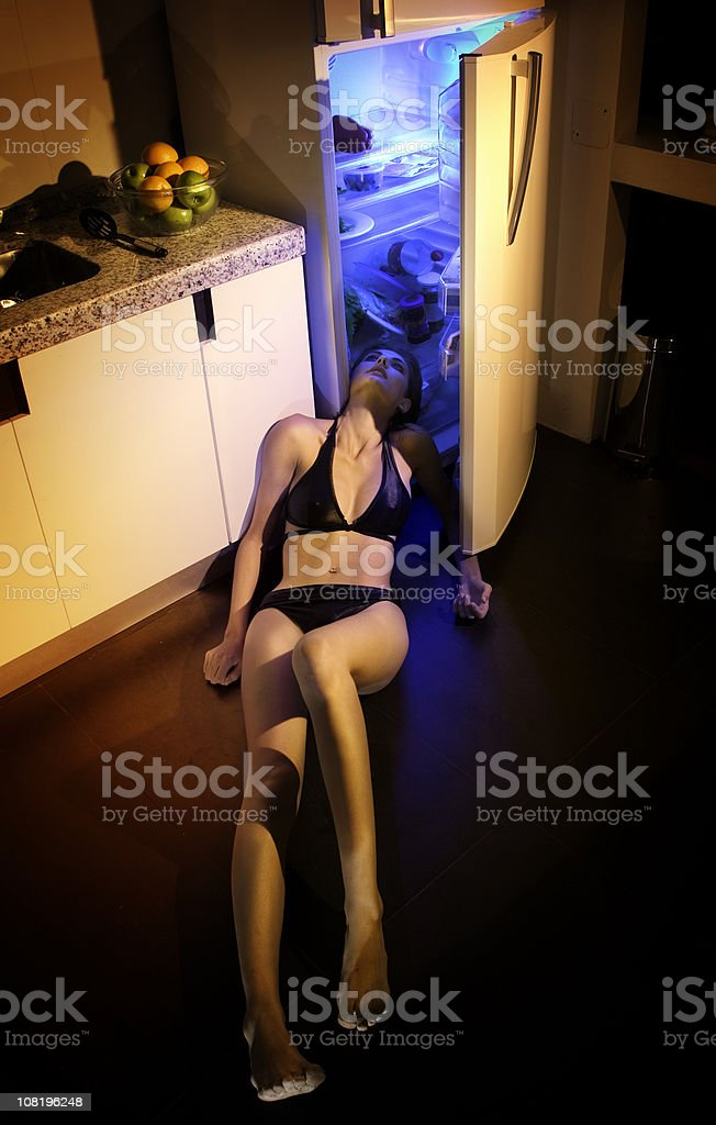 Girl with stifling  hot royalty-free stock photo
