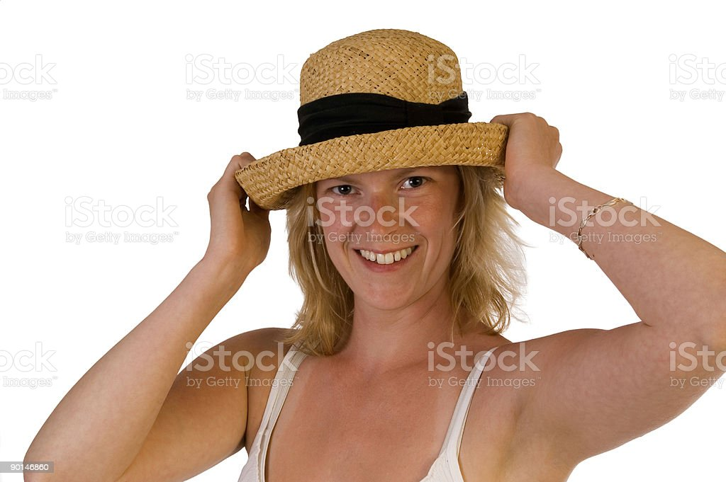 girl with straw hat royalty-free stock photo