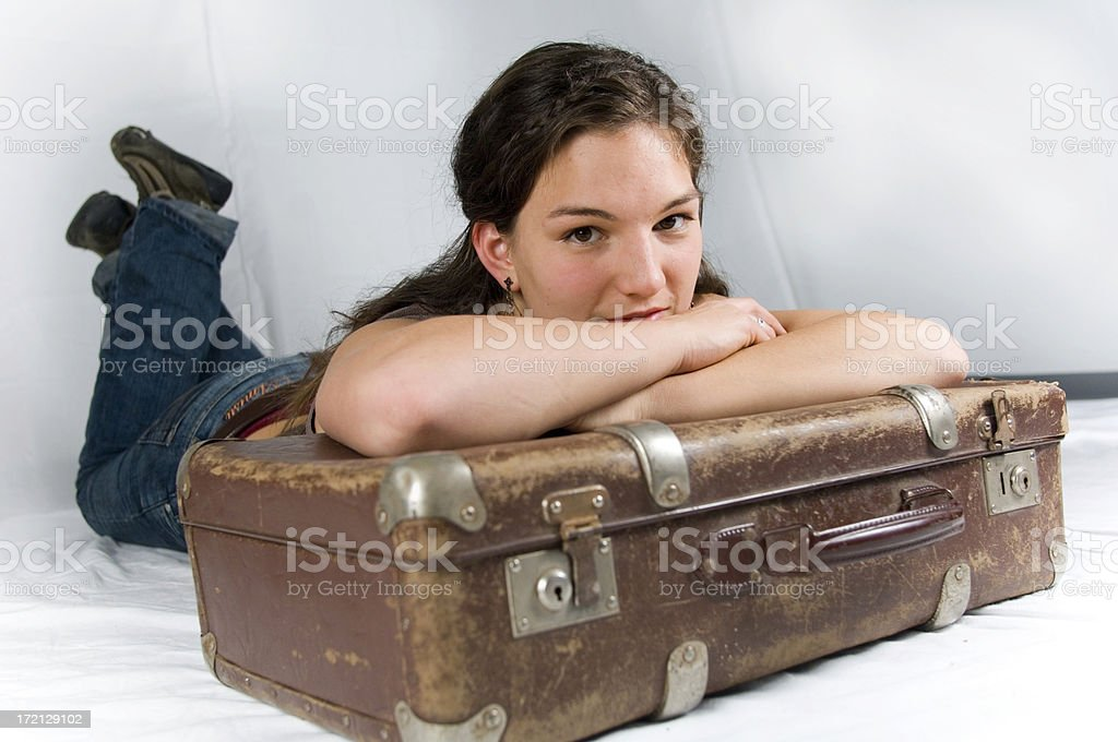 Girl with suitcase - series royalty-free stock photo