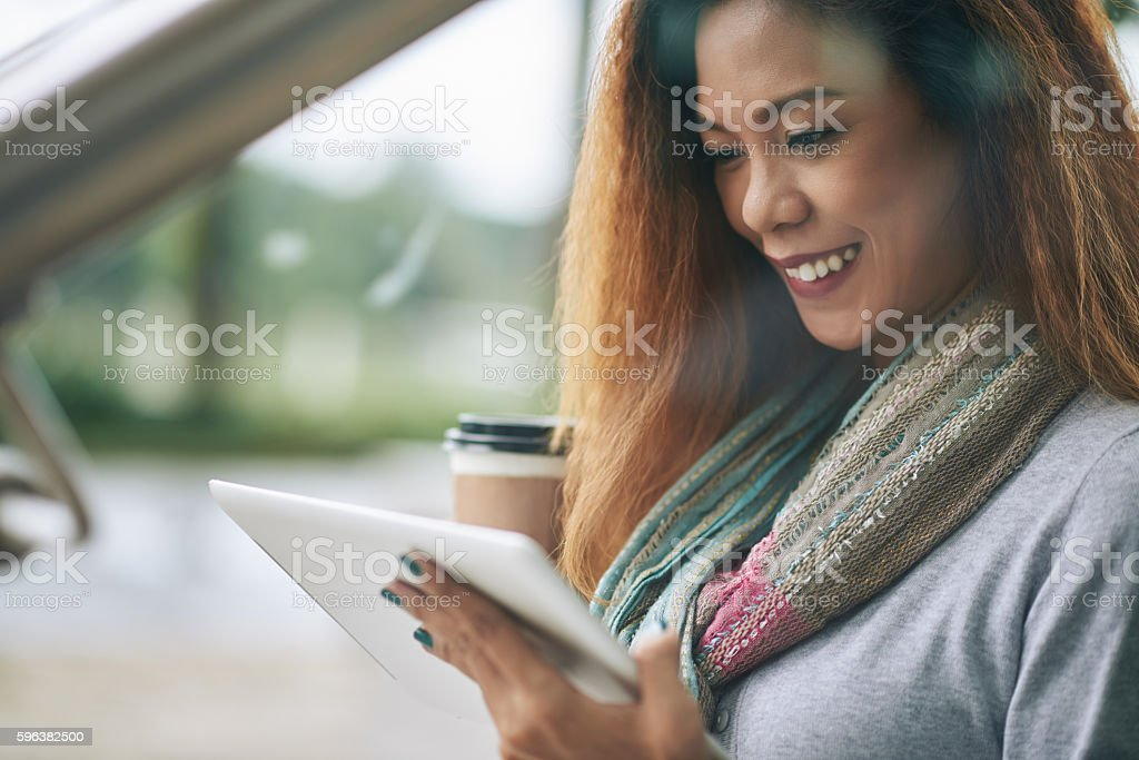 Girl with tablet stock photo