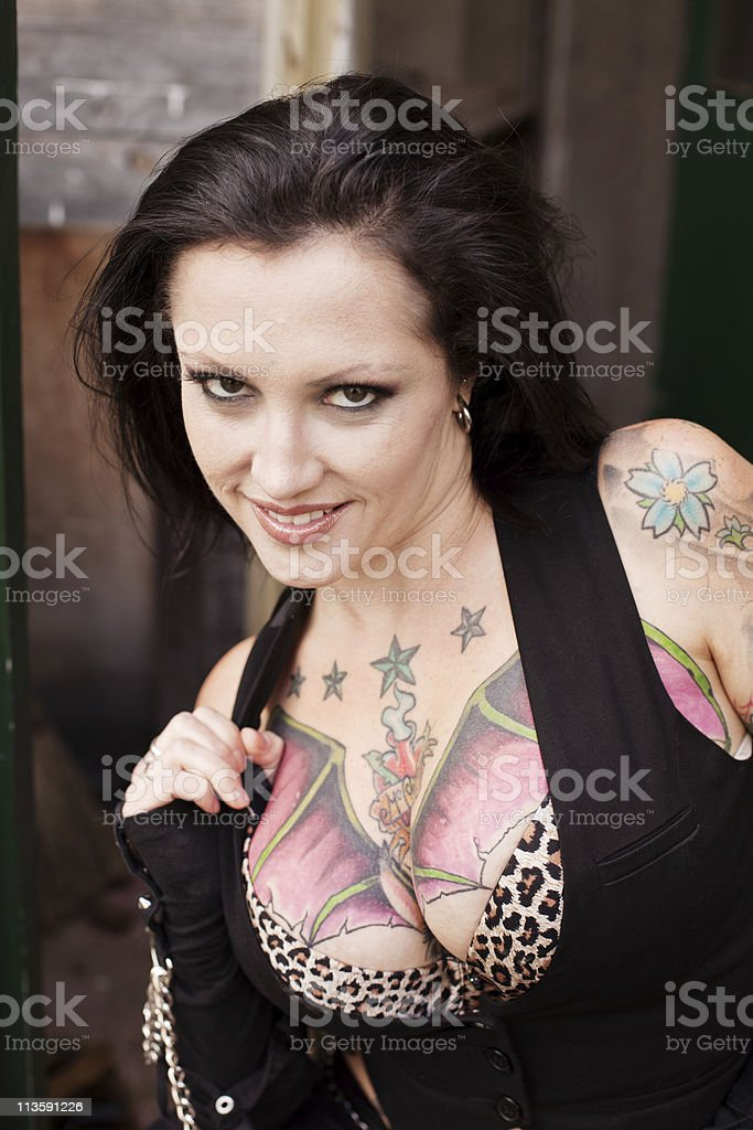 Girl with Tattoos royalty-free stock photo