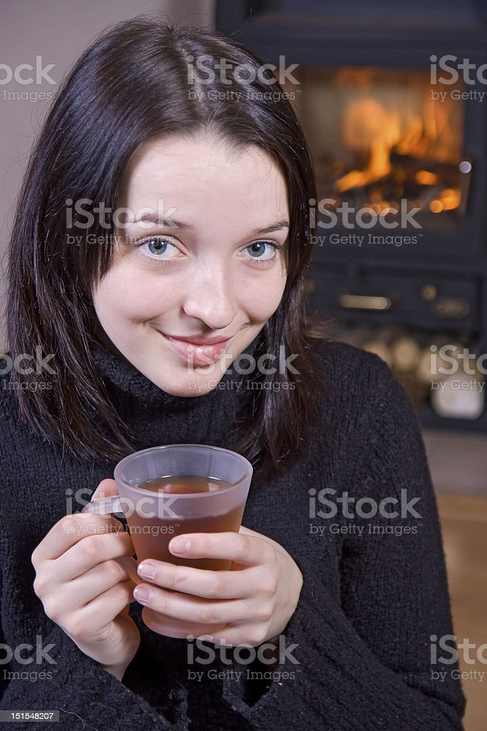 girl with teacup royalty-free stock photo
