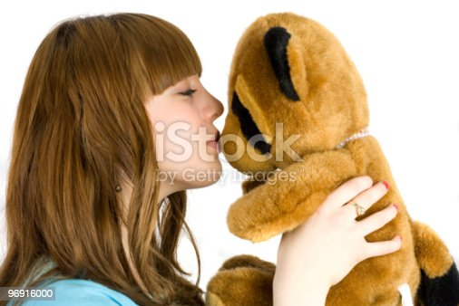 Girl With Teddy Bear Stock Photo & More Pictures of Adult