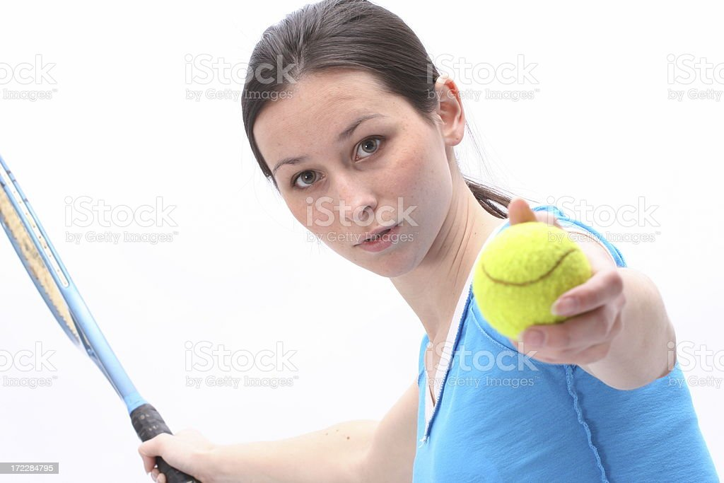 Girl with tennis racket royalty-free stock photo