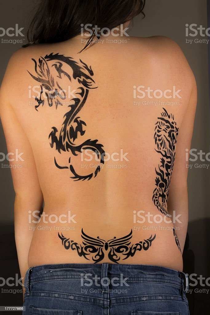 Girl with the dragon tattoo royalty-free stock photo