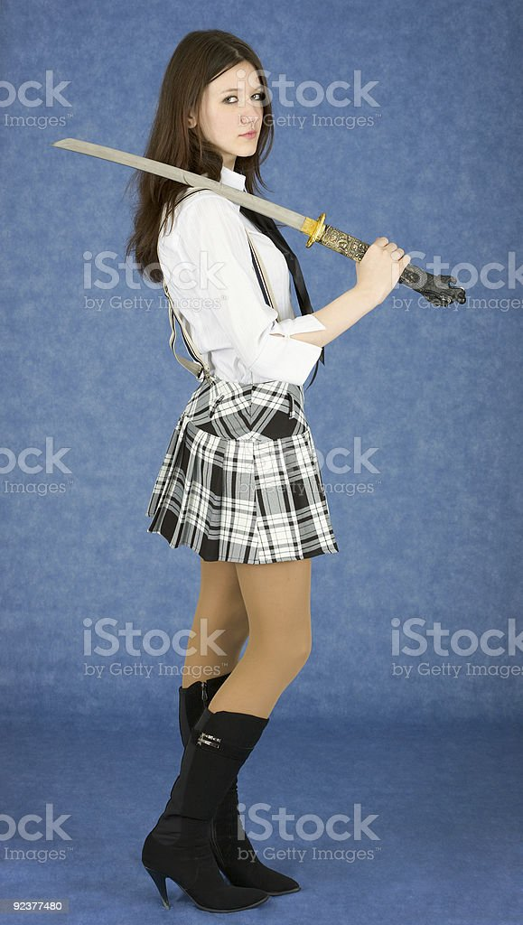 Girl with the japanese sword royalty-free stock photo