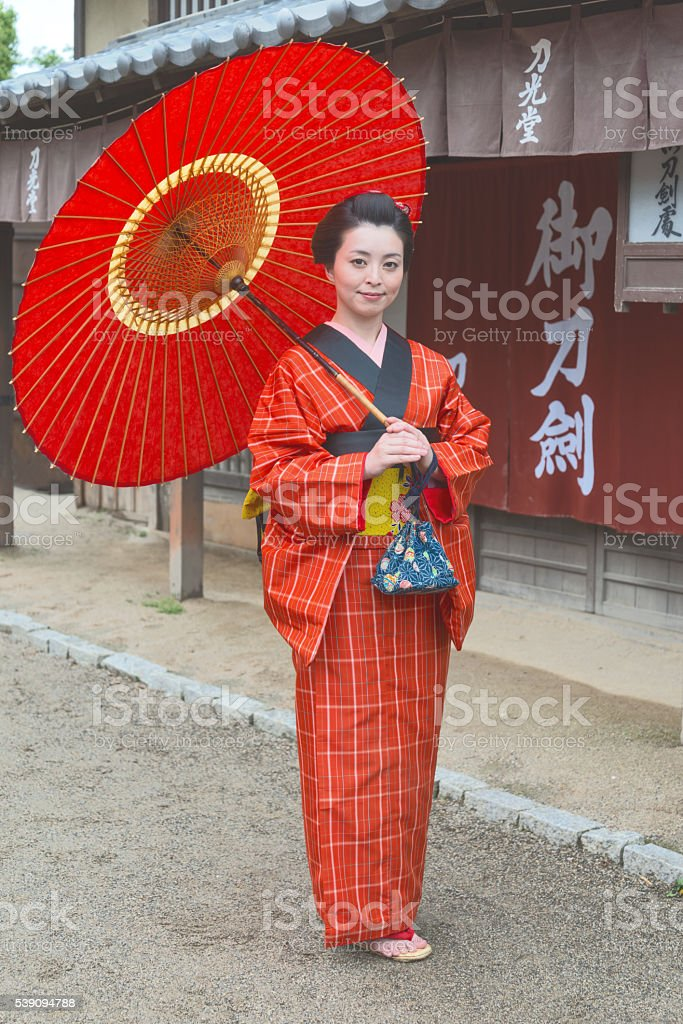 Girl with the unbrella in the Edo period stock photo