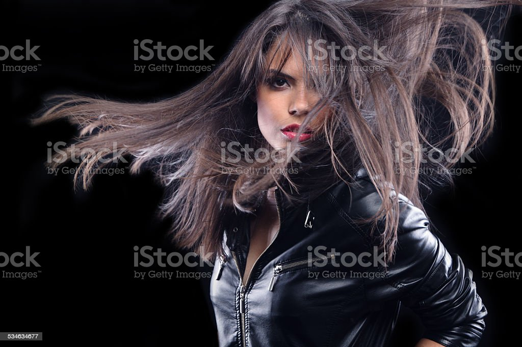 Girl with the wind in your hair stock photo