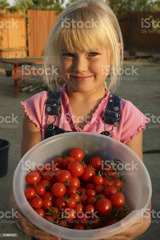 Girl with tomatos royalty-free stock photo