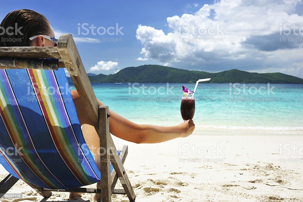 Girl with tropical cocktail royalty-free stock photo