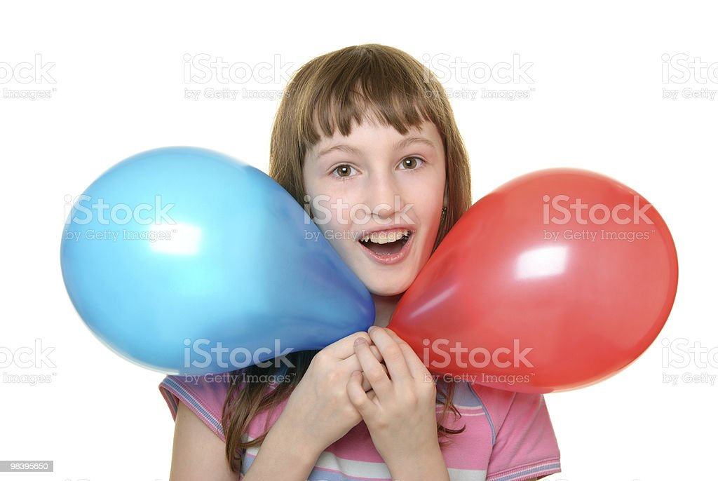 Girl with two colour balloons royalty-free stock photo