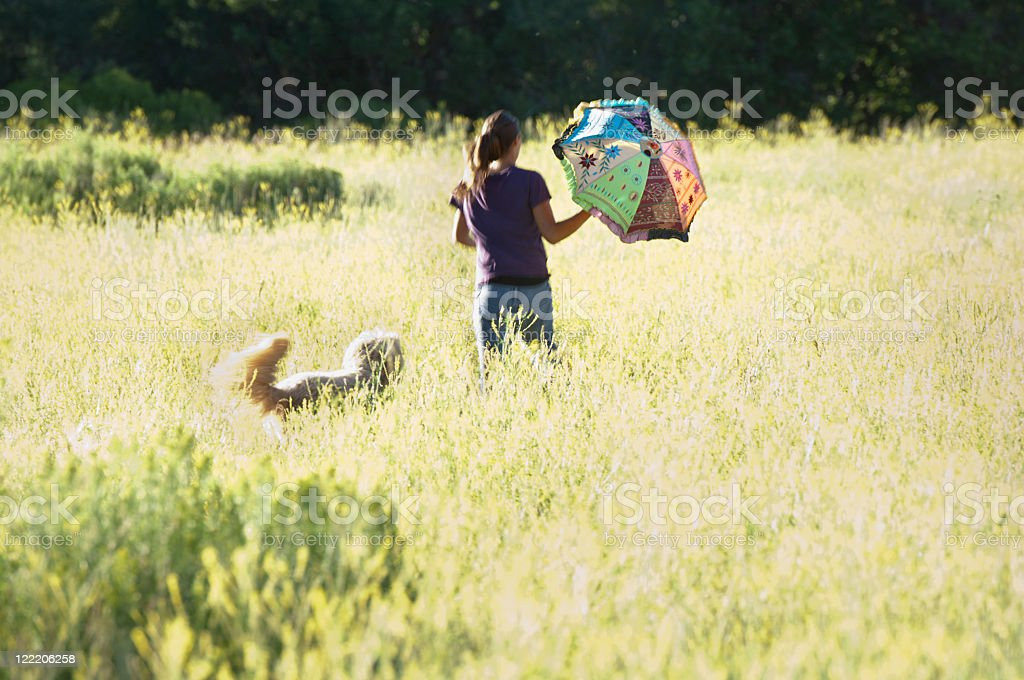 Girl with umbrella and dog running through yellow field stock photo