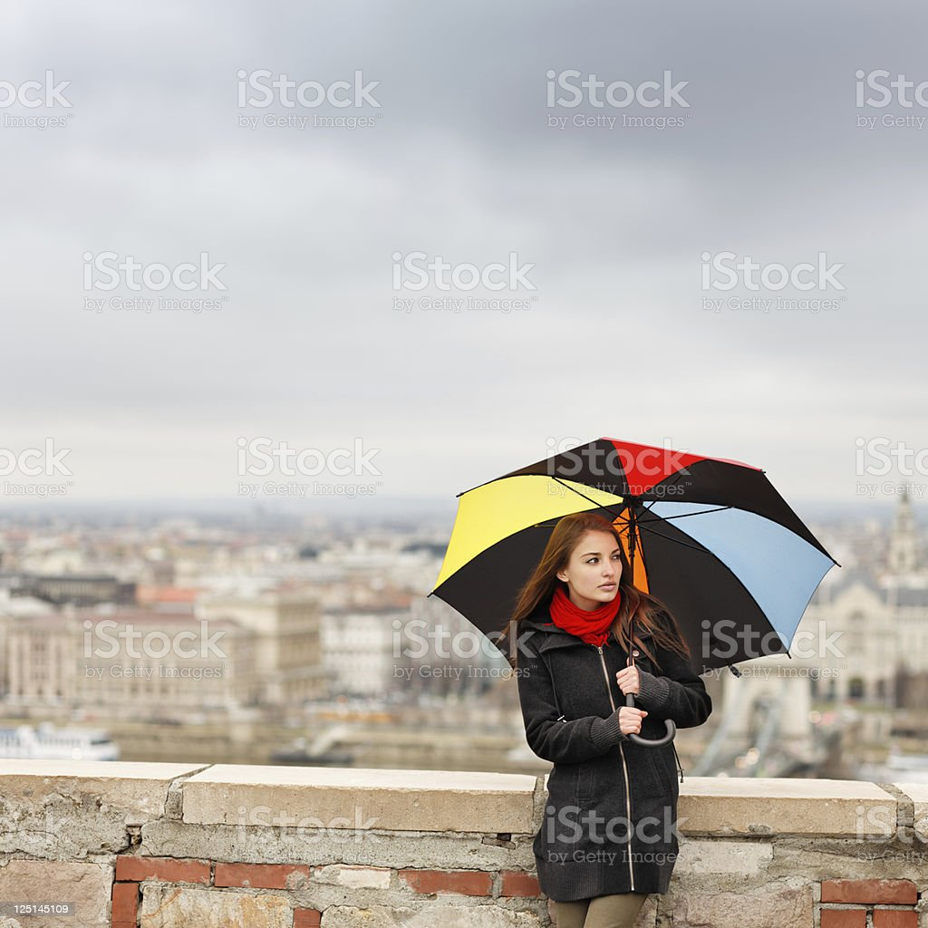 girl with umbrella on a rainy day royalty-free stock photo