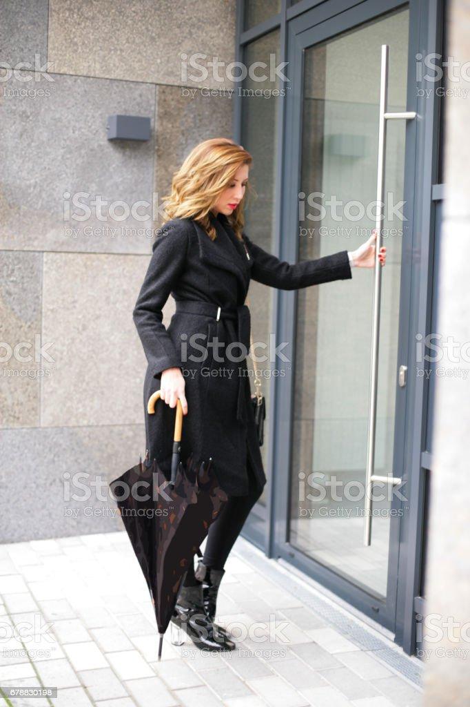 Girl with umbrella stock photo