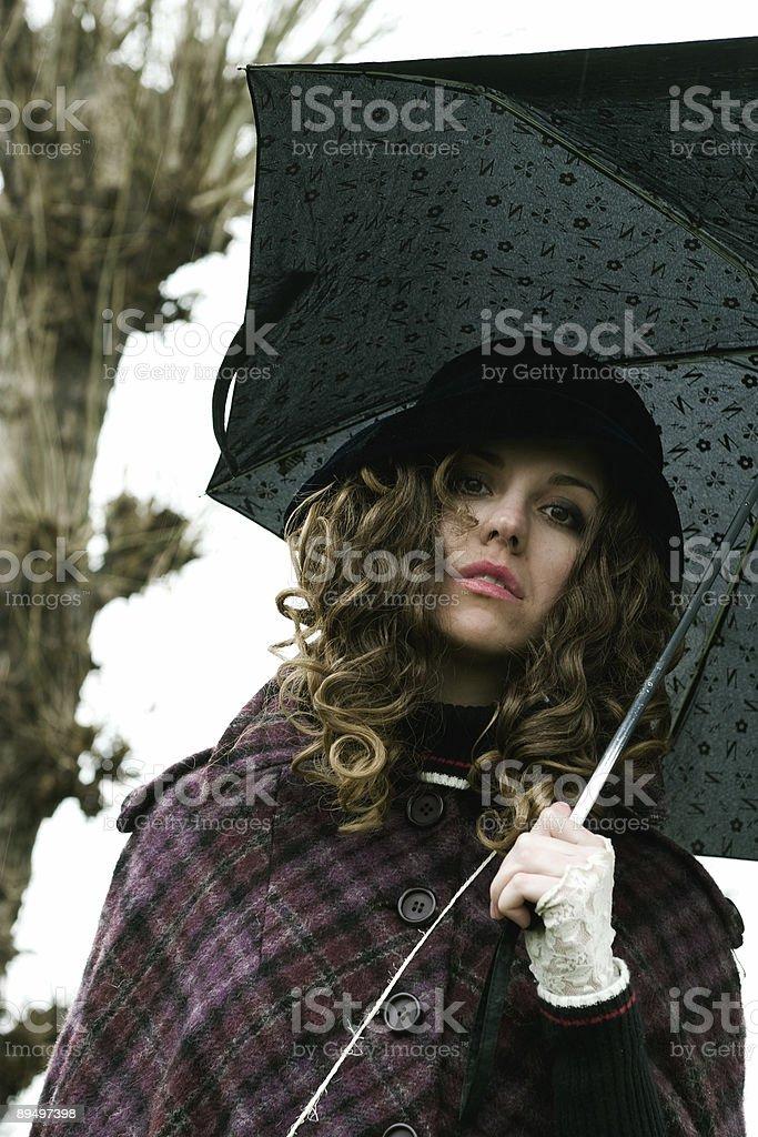 girl with umbrella royaltyfri bildbanksbilder