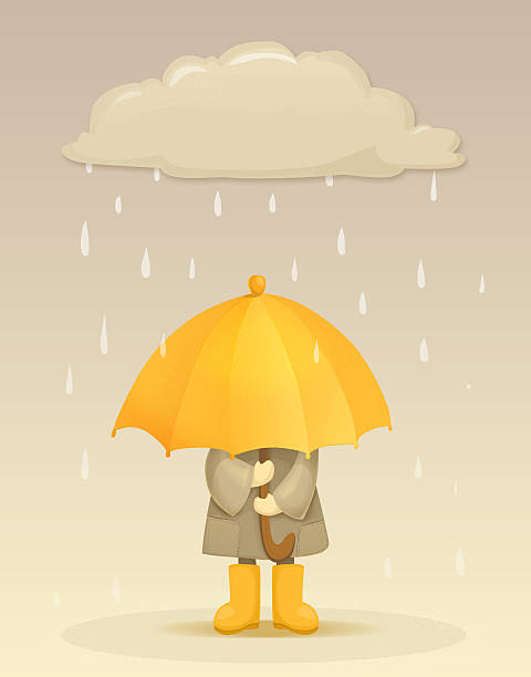 Girl with umbrella under the raincloud with raindrops stock photo