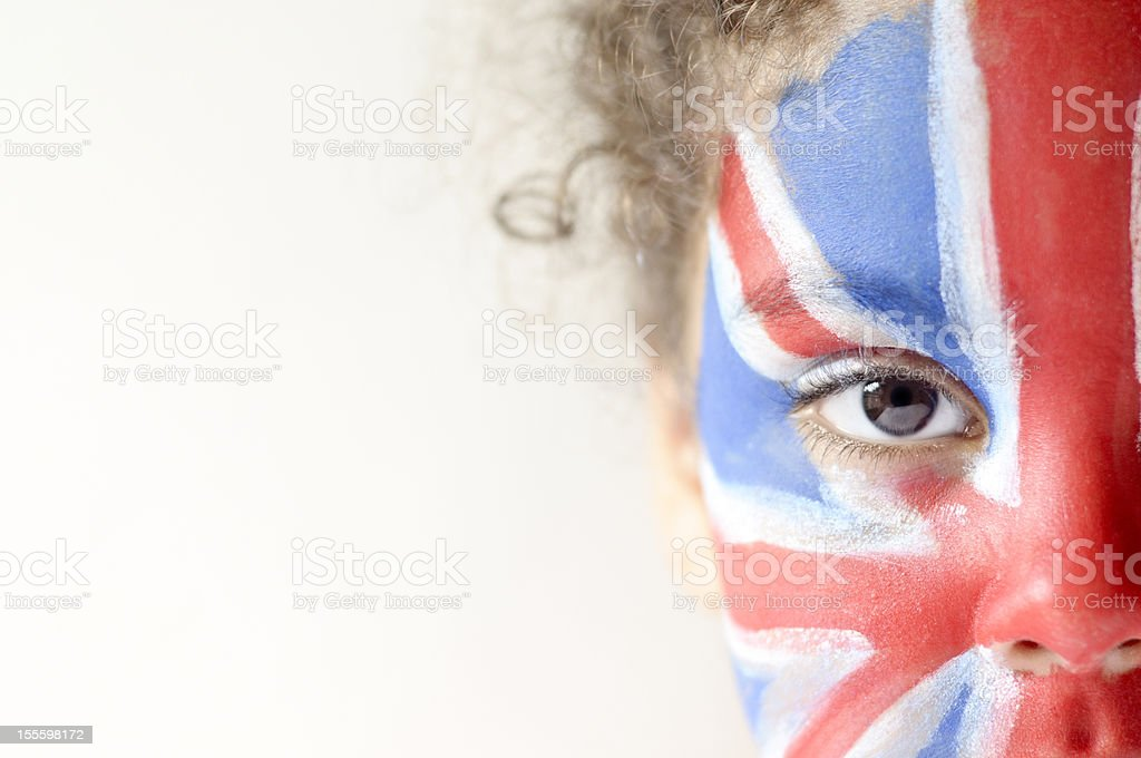 Girl (5-6) With Union Jack Face Painted royalty-free stock photo