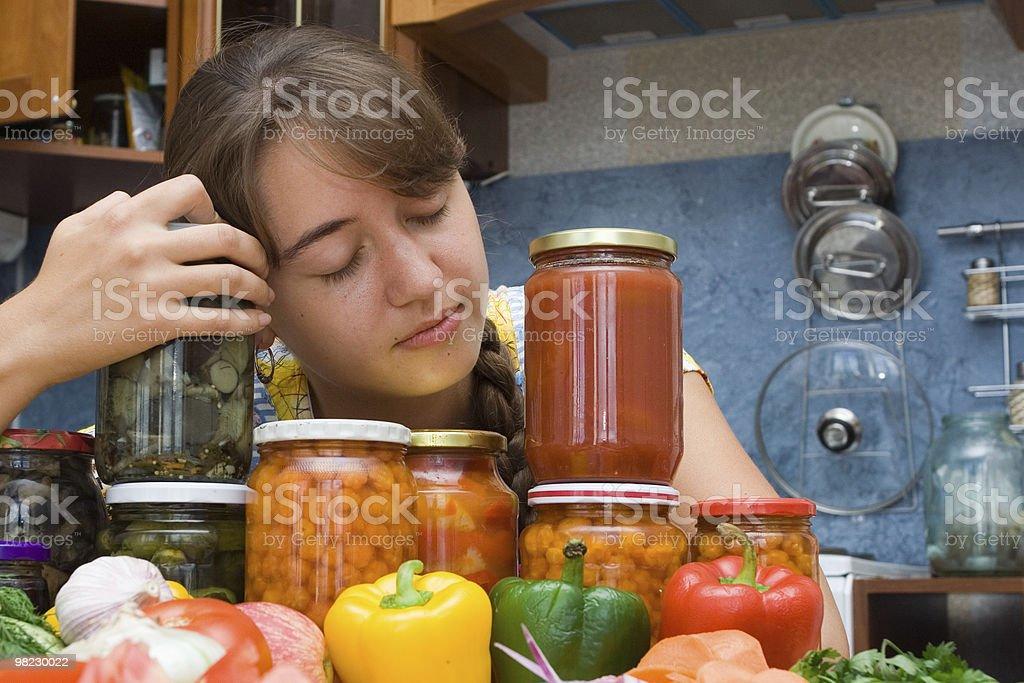 Ragazza con verdure foto stock royalty-free