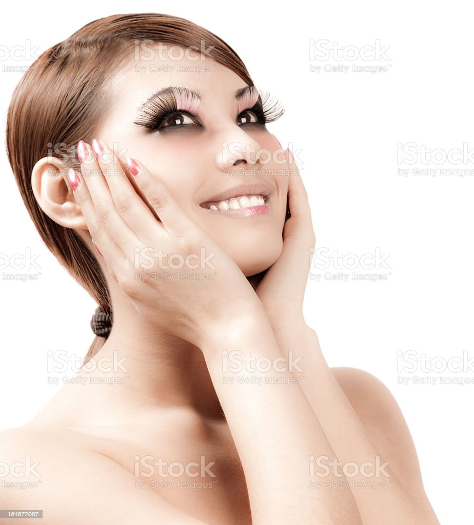 Girl with very long eyelashes royalty-free stock photo