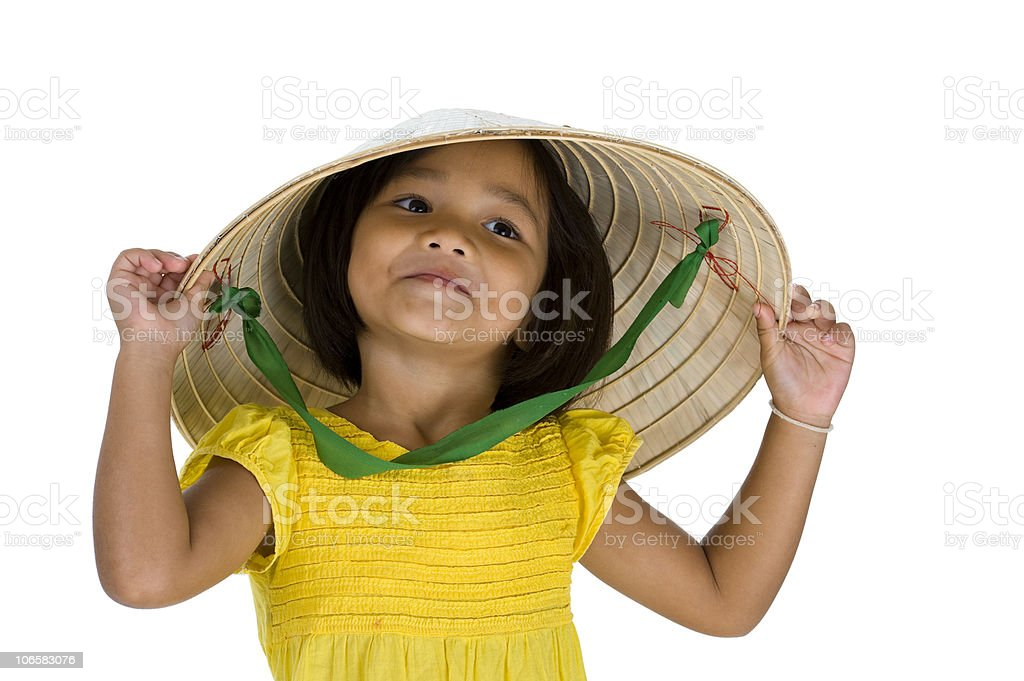girl with vietnamese hat royalty-free stock photo