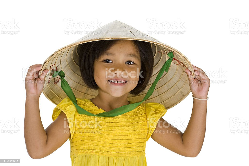 girl with vietnamese hat stock photo