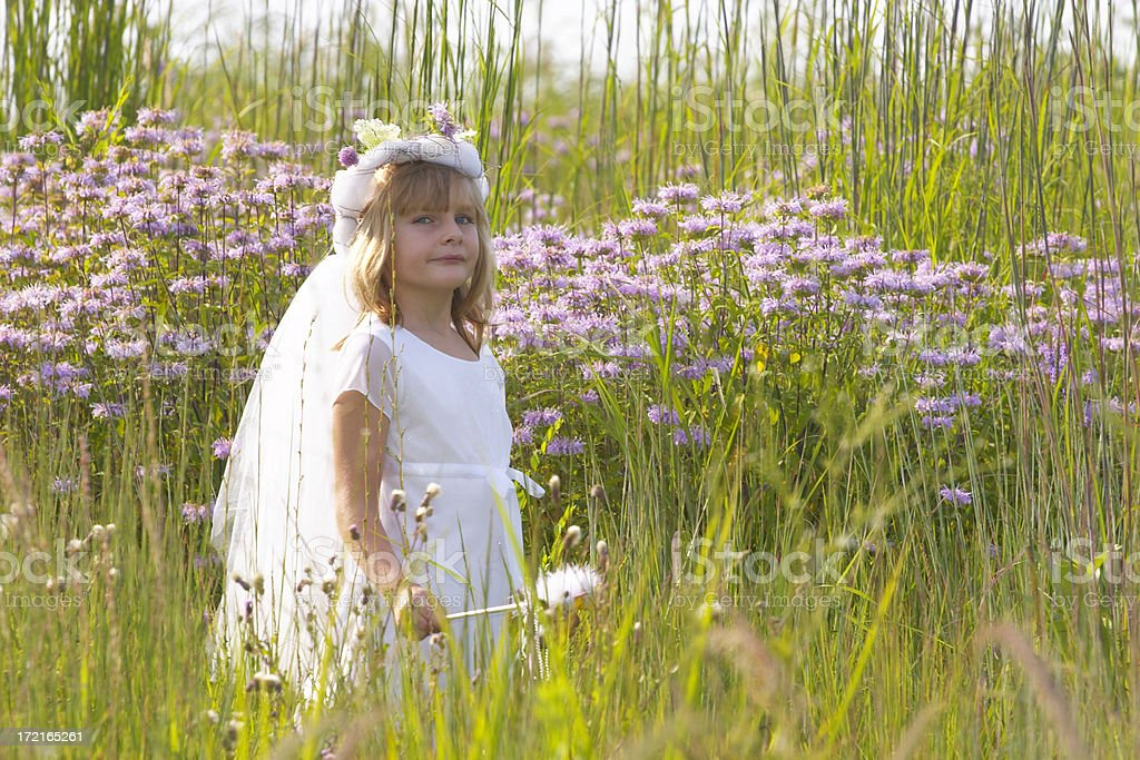 Girl with Wand in Field royalty-free stock photo
