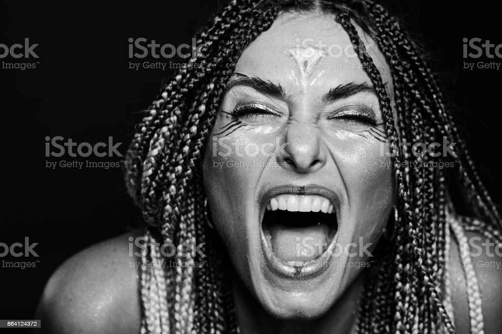 Girl with warrior make up royalty-free stock photo