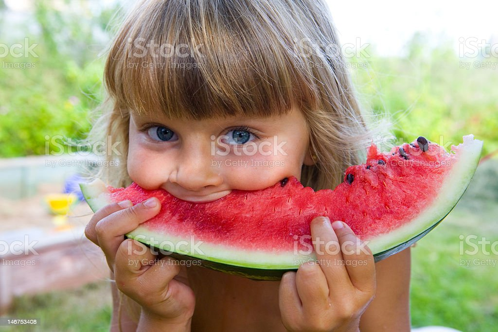 Girl with water-melon royalty-free stock photo