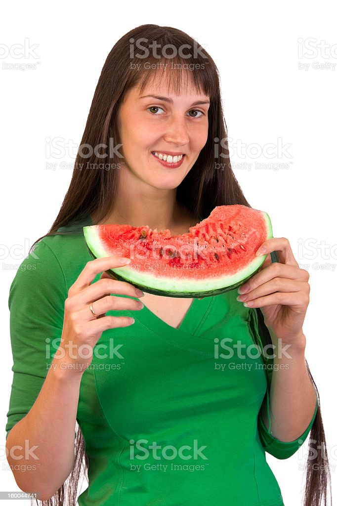 Girl with wate-rmelon royalty-free stock photo