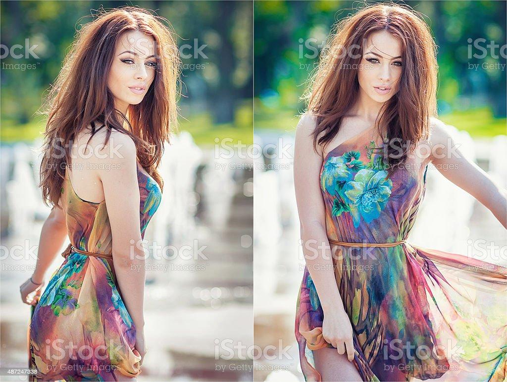 Girl in wet dress