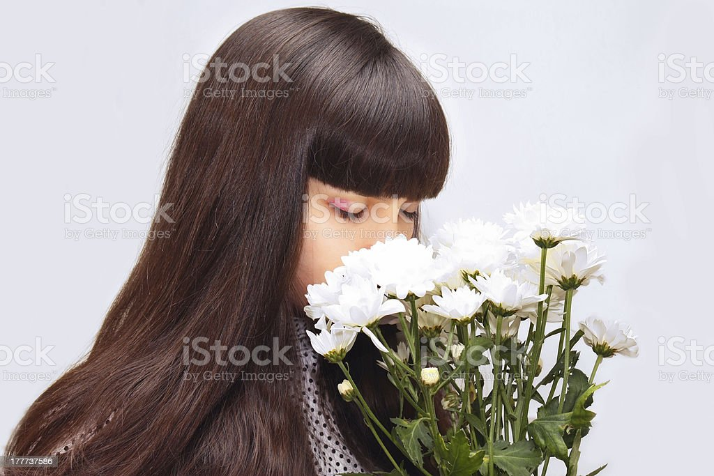 girl with white flowers royalty-free stock photo