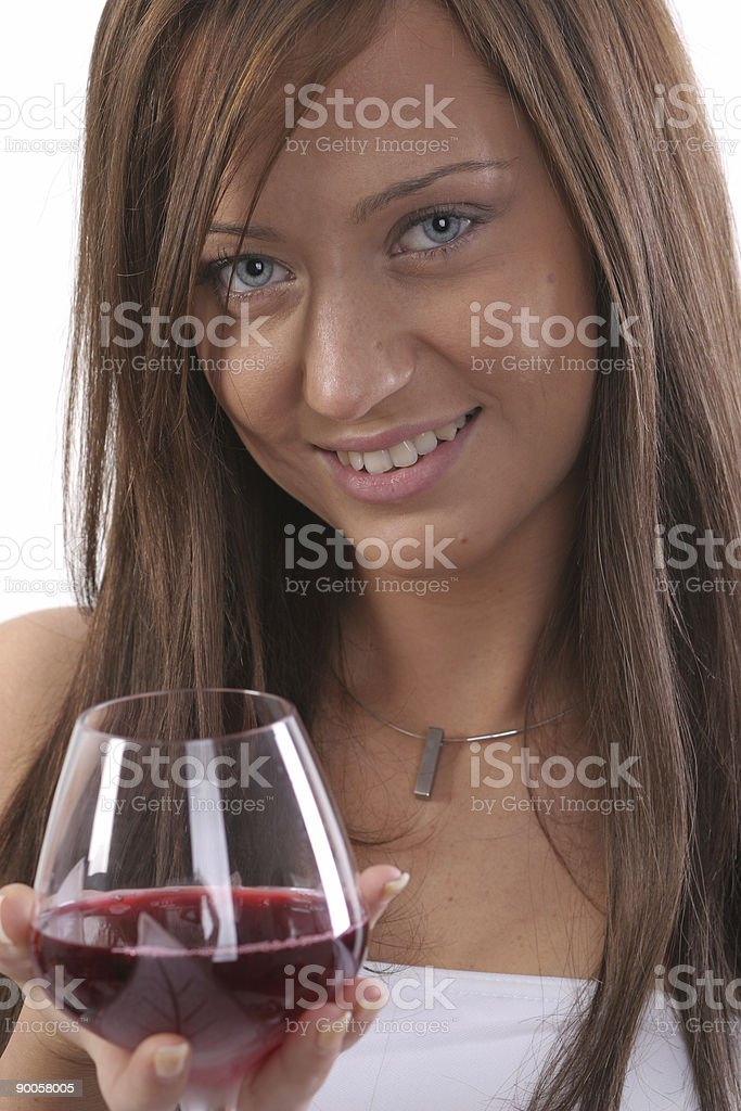 Girl with wine royalty-free stock photo