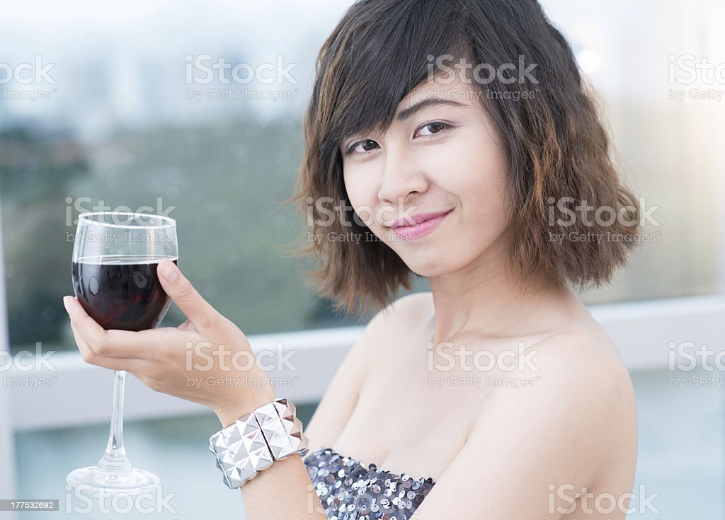 Girl with wineglass royalty-free stock photo