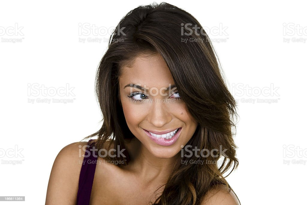 Girl with wishful expression stock photo