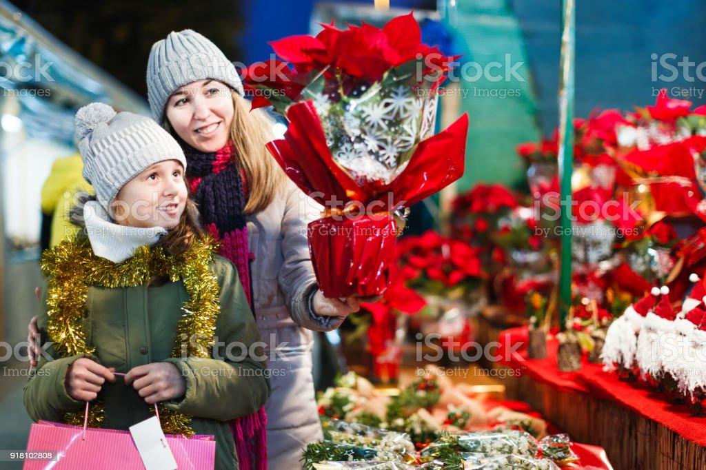 Weihnachtsgeschenke Für Familie.Mädchen Mit Frau Wahl Weihnachtsgeschenke Für Familie Stockfoto Und