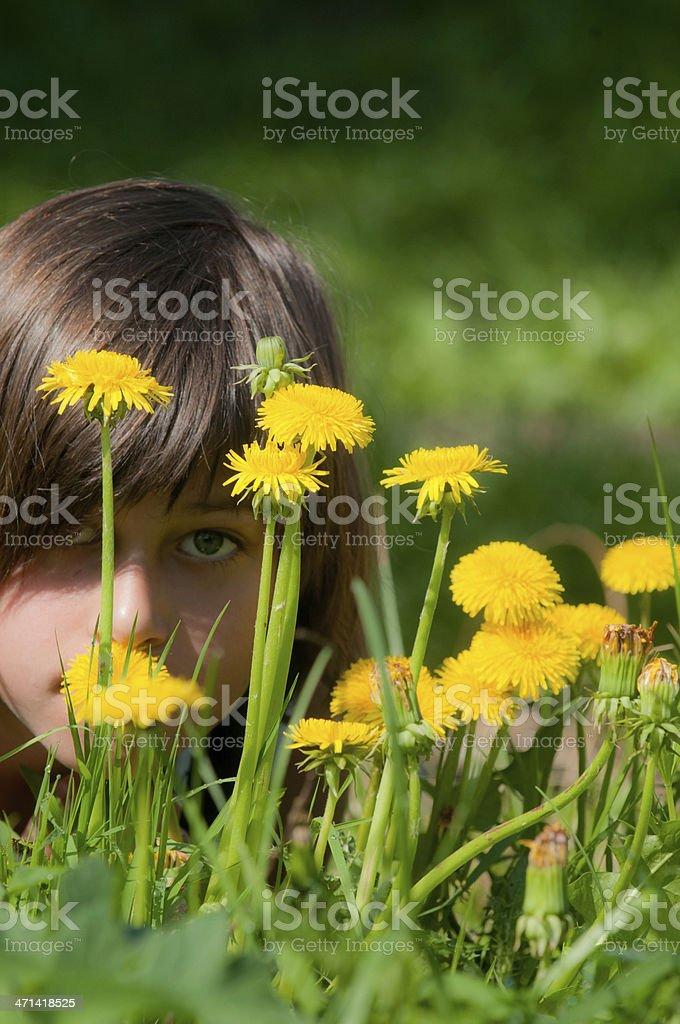 girl with yellow flowers stock photo