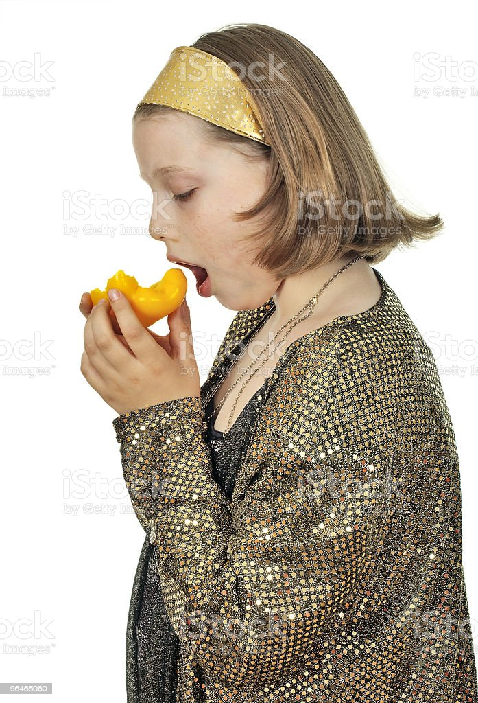 Girl with yellow pepper royalty-free stock photo