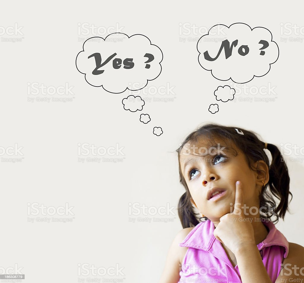 Girl with yes or no thought bubbles royalty-free stock photo