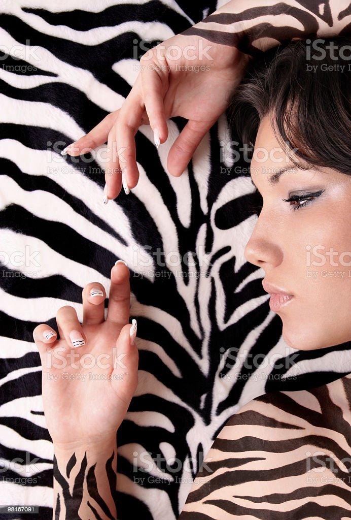 girl with zebra skin royalty-free stock photo