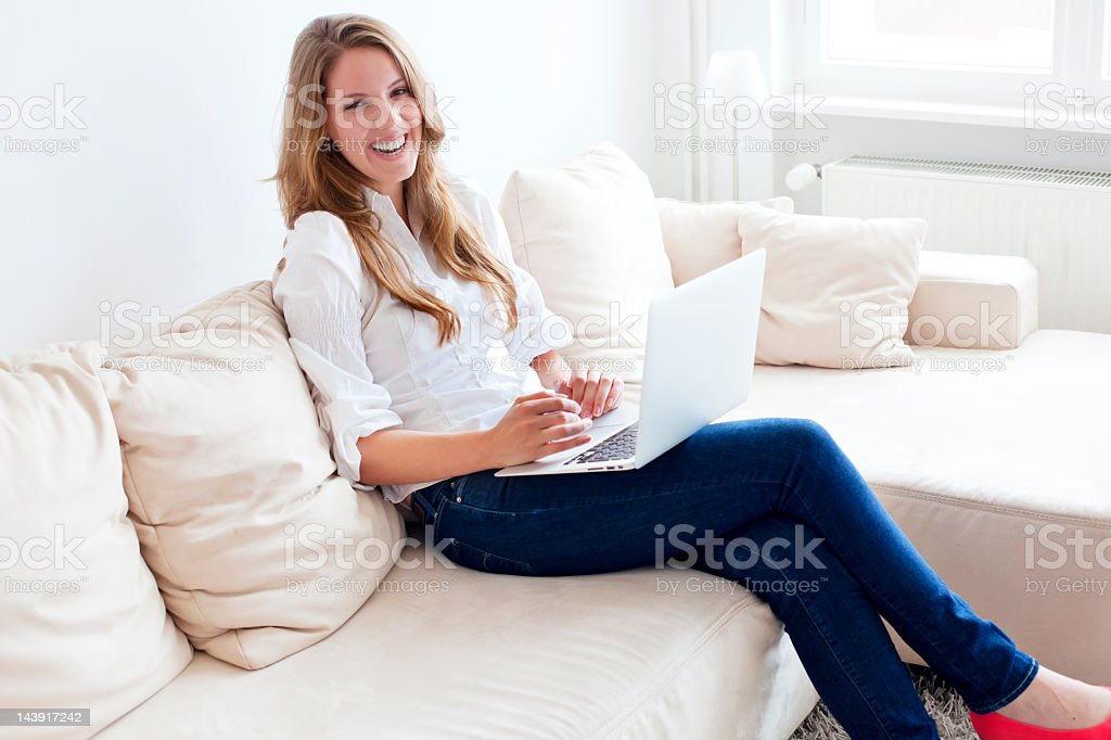 Girl Working at Home royalty-free stock photo