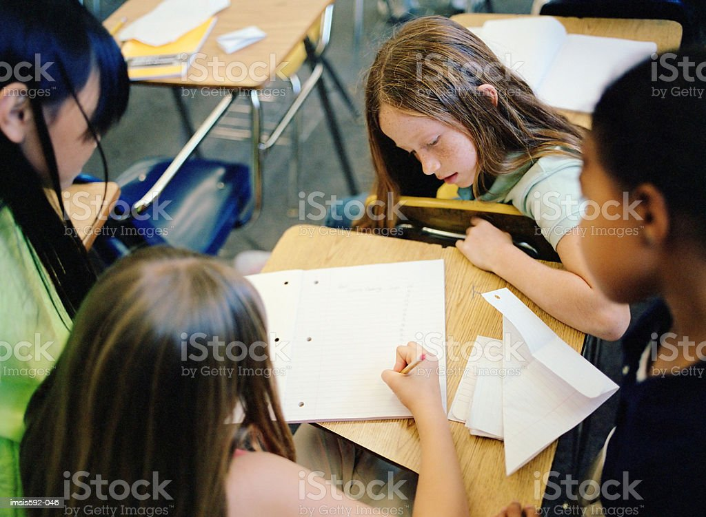 Girl working in classroom royalty-free stock photo