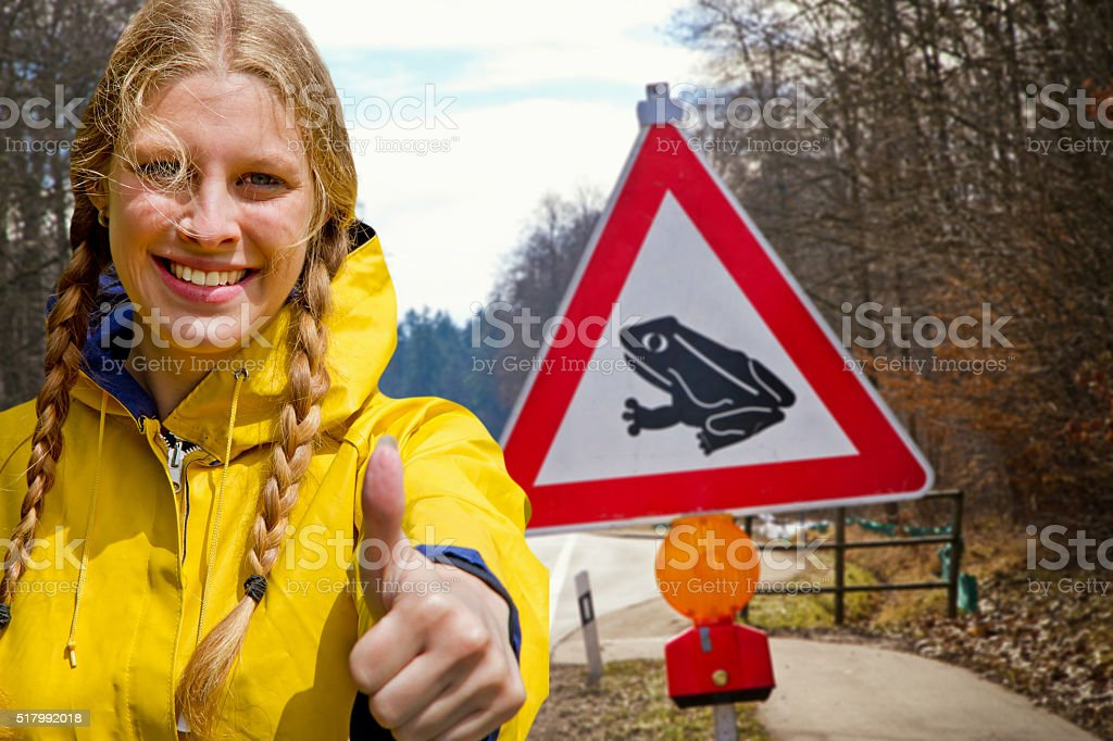 Girl working in conservation of nature stock photo